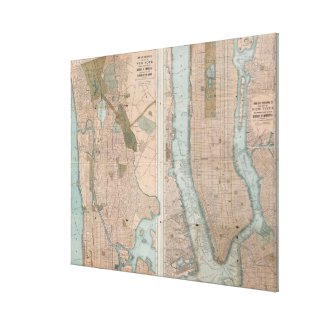 Vintage Map of New York City (1899) Canvas Print