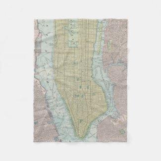 Vintage Map of New York City (1901) Fleece Blanket