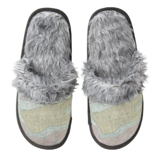 Vintage Map of New York City (1901) Pair Of Fuzzy Slippers