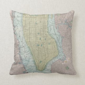 Vintage Map of New York City (1901) Throw Pillows
