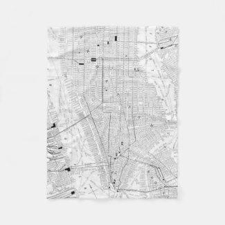 Vintage Map of New York City (1911) Fleece Blanket