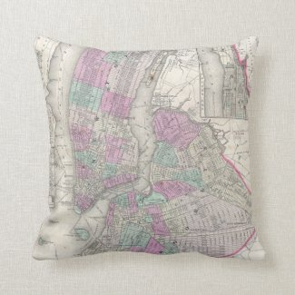 Vintage Map of NYC and Brooklyn (1866) Throw Pillows