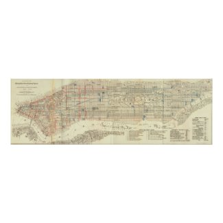 Vintage Map of The NYC Railways (1899) Print