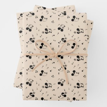 Vintage Mickey & Minnie Music Pattern Wrapping Paper Sheets