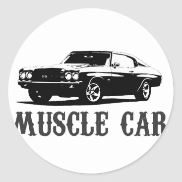 vintage muscle car classic round sticker
