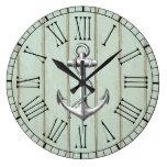 Vintage Nautical Anchor On Wood Pattern Large Clock