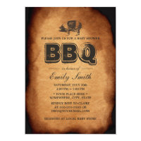 Vintage Old Pig Roast Barbecue Baby Shower Party Card