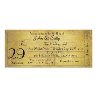 Vine Old Style Wedding Ticket Invitation