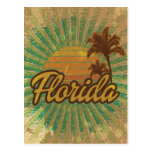 Vintage Palm Trees and Sun, Florida Postcard