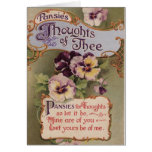 """❤️ Sweet Vintage Pansies """"Thoughts Of Thee"""" Card"""