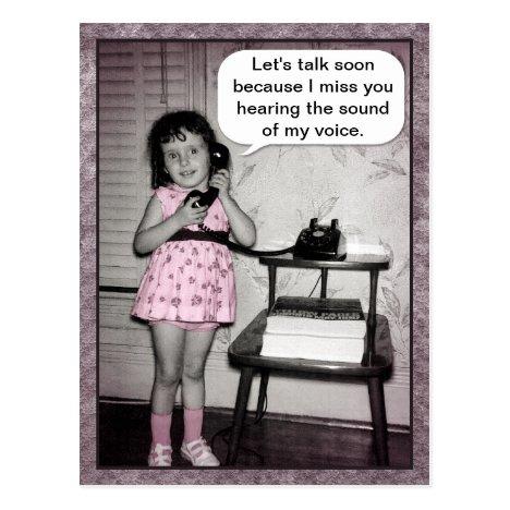 Vintage Photo Talk Soon Telephone Girl Humor Postcard