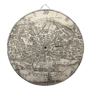 Vintage Pictorial Map of New York City (1672) Dartboard