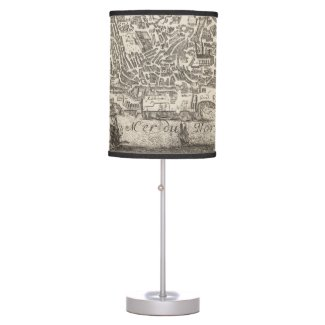 Vintage Pictorial Map of New York City (1672) Table Lamp