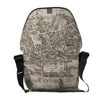 Vintage Pictorial Map of New York City (1672) Courier Bag