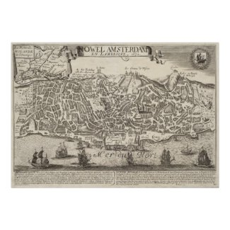 Vintage Pictorial Map of New York City (1672) Posters