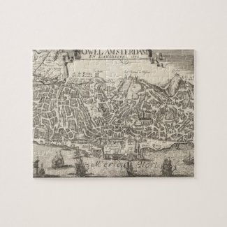 Vintage Pictorial Map of New York City (1672) Jigsaw Puzzles