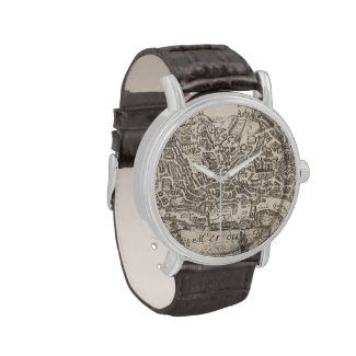 Vintage Pictorial Map of New York City (1672) Wrist Watch