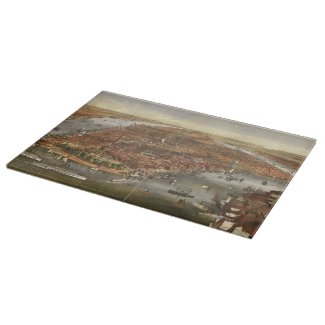 Vintage Pictorial Map of New York City (1870) Cutting Board