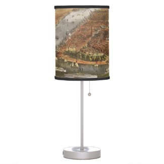 Vintage Pictorial Map of New York City (1870) Desk Lamp