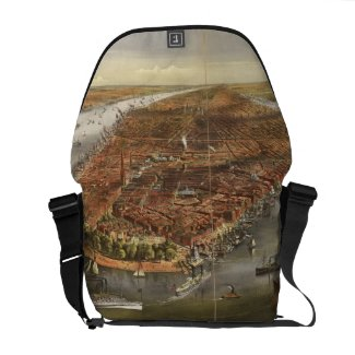 Vintage Pictorial Map of New York City (1870) Messenger Bag