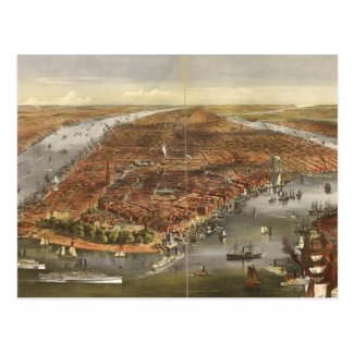 Vintage Pictorial Map of New York City (1870) Post Cards