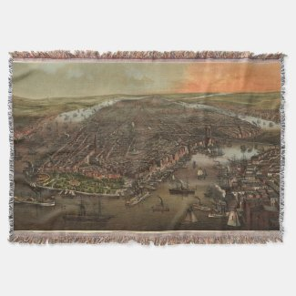 Vintage Pictorial Map of New York City (1873) Throw Blanket