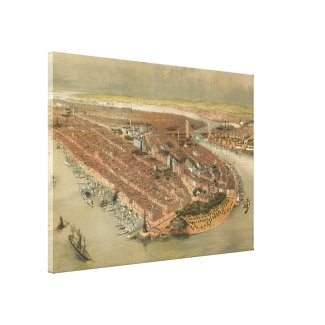 Vintage Pictorial Map of New York City (1874) Gallery Wrap Canvas