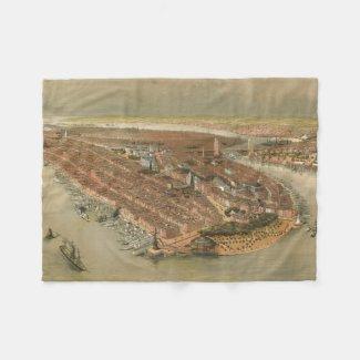 Vintage Pictorial Map of New York City (1874) Fleece Blanket