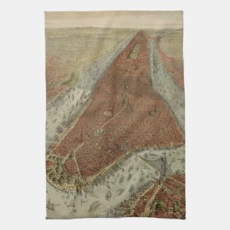 Vintage Pictorial Map of New York City (1879) 2 Kitchen Towel