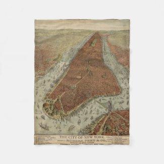 Vintage Pictorial Map of New York City (1879) 2 Fleece Blanket