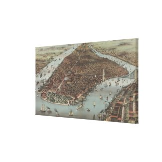 Vintage Pictorial Map of New York City (1883) Canvas Print
