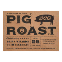 Vintage Pig Roast BBQ Birthday Invitation Kraft
