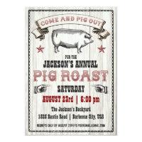 Vintage Pig Roast Invitation on Wood