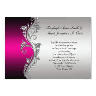 Vine Pink Black And Silver Wedding Invitation