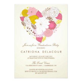 Vintage Pink Floral Heart Graduation Invitation