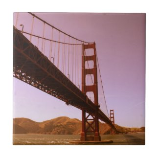 Vintage Pink Golden Gate Bridge Photo Edit Ceramic Tile