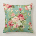 Vintage Pink Roses on Green Wallpaper Print Throw Pillow