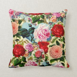 Vintage Pretty Chic Floral Rose Garden Collage Throw Pillow