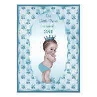 Vintage Prince Boy and Blue Roses 1st Birthday Custom Invitations