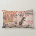 ❤️  Vintage Queen Bee Beautiful Girly Collage Lumbar Pillow