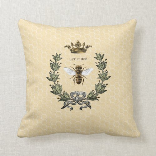 Vintage Queen Bee Crown and Wreath Throw Pillow