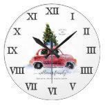 Vintage Red Car Farmhouse | Family Name Large Clock
