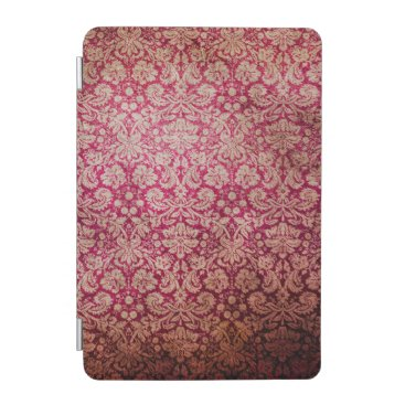 Vintage Red Cream Grunge Floral Damask Pattern iPad Mini Cover