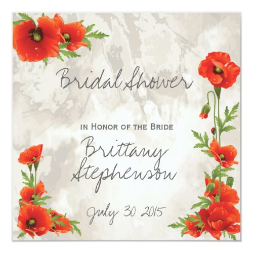 VINTAGE RED POPPIES BRIDAL SHOWER CARD