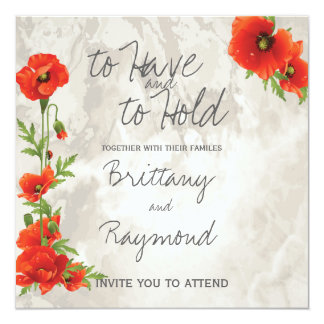 VINTAGE RED POPPIES WEDDING CARD