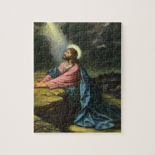 Vintage Religion, Jesus Christ Praying, Gethsemane Jigsaw Puzzle