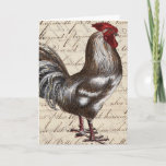Pretty Vintage Rooster Happy Birthday Card