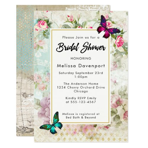 Vintage roses and Butterflies Bridal Shower Invite