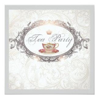 Brown Stripes Tea Cups Bridal Shower Invitation Party Invitations