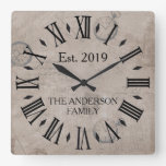 Vintage Rustic Antique Distressed Watch Retro Square Wall Clock